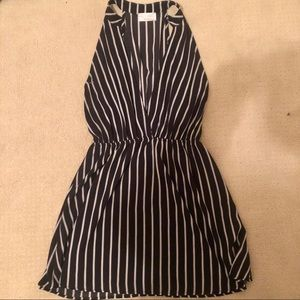 High neck striped dress